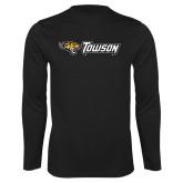 Performance Black Longsleeve Shirt-Athletics Wordmark