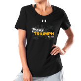 Ladies Under Armour Black Charged Cotton Tee-Tiger Triumph