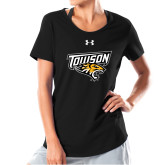 Ladies Under Armour Black Charged Cotton Tee-Primary Athletics Mark