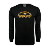 Black Long Sleeve TShirt-Towson Tigers Football Horizontal