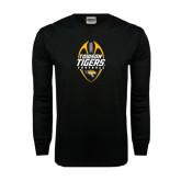 Black Long Sleeve TShirt-Towson Tigers Football Vertical