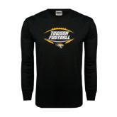 Black Long Sleeve TShirt-Towson Football Inside Ball