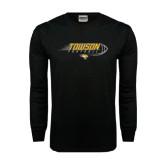 Black Long Sleeve TShirt-Flying Football w/Tiger Stripes