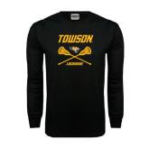 Black Long Sleeve TShirt-Lacrosse Crossed Sticks