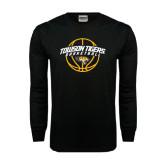 Black Long Sleeve TShirt-Basketball Arched w/Ball