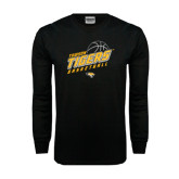 Black Long Sleeve TShirt-Tigers Basketball Slanted w/Striped Pattern