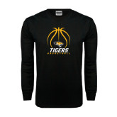 Black Long Sleeve TShirt-Tigers Basketball Stacked Under Ball