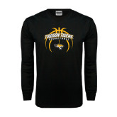 Black Long Sleeve TShirt-Towson Tigers Arched Over Basketball