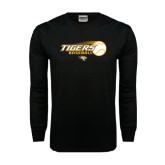 Black Long Sleeve TShirt-Tigers Baseball Flat w/Flying Ball