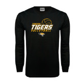 Black Long Sleeve TShirt-Tigers Volleyball Stacked w/ Ball