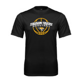 Performance Black Tee-Basketball Arched w/Ball