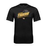 Performance Black Tee-Tigers Basketball Slanted w/Striped Pattern