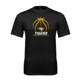 Performance Black Tee-Tigers Basketball Stacked Under Ball