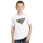 Youth White T Shirt-Primary Athletics Mark
