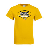 Gold T Shirt-Towson Football Inside Ball