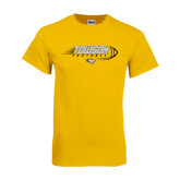 Gold T Shirt-Flying Football w/Tiger Stripes