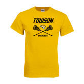Gold T Shirt-Lacrosse Crossed Sticks