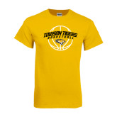 Gold T Shirt-Basketball Arched w/Ball