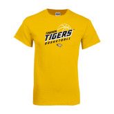Gold T Shirt-Tigers Basketball Slanted w/Striped Pattern