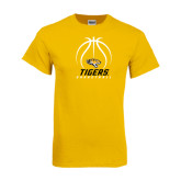 Gold T Shirt-Tigers Basketball Stacked Under Ball