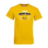 Gold T Shirt-Towson Tigers Arched Over Basketball