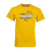 Gold T Shirt-Tigers Volleyball Stacked w/ Ball
