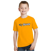 Youth Gold T Shirt-Athletics Wordmark