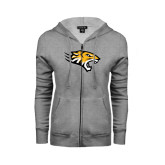 Ladies Grey Fleece Full Zip Hoodie-Tiger Head