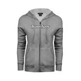 Ladies Grey Fleece Full Zip Hoodie-Towson Tigers Wordmark