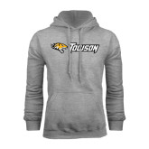 Grey Fleece Hoodie-Tiger Head w/Towson Flat