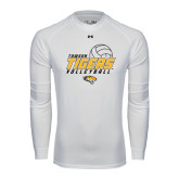 Under Armour White Long Sleeve Tech Tee-Tigers Volleyball Stacked w/ Ball