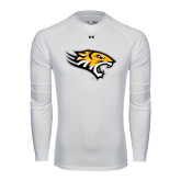 Under Armour White Long Sleeve Tech Tee-Tiger Head