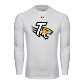 Under Armour White Long Sleeve Tech Tee-T w/Tiger Head