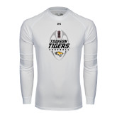 Under Armour White Long Sleeve Tech Tee-Towson Tigers Football Vertical