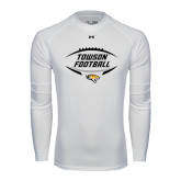 Under Armour White Long Sleeve Tech Tee-Towson Football Inside Ball
