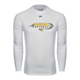 Under Armour White Long Sleeve Tech Tee-Flying Football w/Tiger Stripes