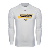 Under Armour White Long Sleeve Tech Tee-Lacrosse Stick w/Calvert Pattern
