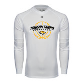 Under Armour White Long Sleeve Tech Tee-Basketball Arched w/Ball