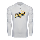 Under Armour White Long Sleeve Tech Tee-Tigers Basketball Slanted w/Striped Pattern