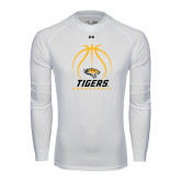 Under Armour White Long Sleeve Tech Tee-Tigers Basketball Stacked Under Ball