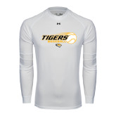 Under Armour White Long Sleeve Tech Tee-Tigers Baseball Flat w/Flying Ball