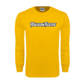 Gold Long Sleeve T Shirt-Towson Tigers Wordmark