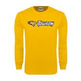 Gold Long Sleeve T Shirt-Tiger Head w/Towson Flat