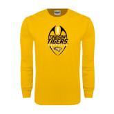 Gold Long Sleeve T Shirt-Towson Tigers Football Vertical