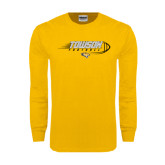 Gold Long Sleeve T Shirt-Flying Football w/Tiger Stripes
