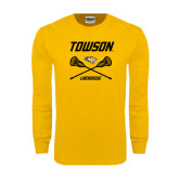 Gold Long Sleeve T Shirt-Lacrosse Crossed Sticks