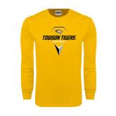 Gold Long Sleeve T Shirt-Geometric Lacrosse Head