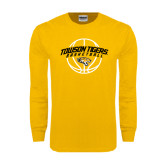 Gold Long Sleeve T Shirt-Basketball Arched w/Ball