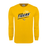 Gold Long Sleeve T Shirt-Tigers Basketball Slanted w/Striped Pattern