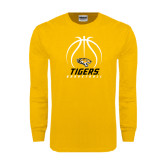 Gold Long Sleeve T Shirt-Tigers Basketball Stacked Under Ball